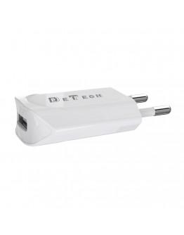 Мрежово зарядно устройство, DeTech, DE-11M, 5V/1A, 220V,1 x USB, С Micro USB кабел, 1.0m, Бял - 14115